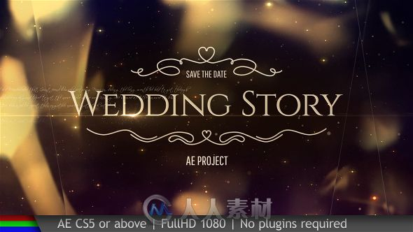 梦幻优雅金色粒子浪漫婚礼视频开场AE模板 Videohive Wedding Pack