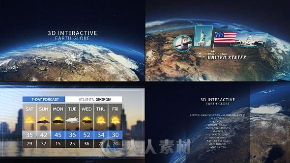 创意交互式三维地球仪展示标记地址幻灯片AE模板Videohive 3D Interactive Earth Globe