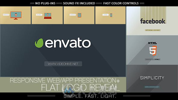 简单的笔记本电脑显示应用程序标识幻灯片LOGO演绎AE模板Videohive Flat Logo - Responsive Design Corporate App