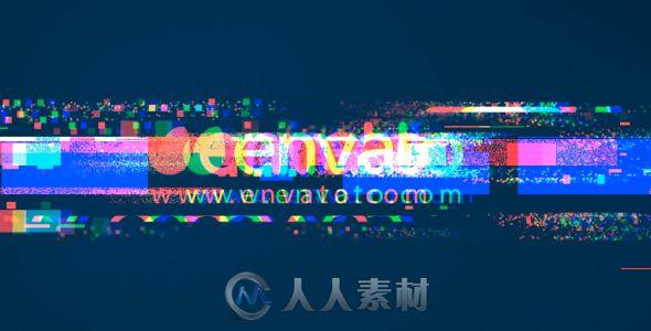 创意炫酷科技故障标志显示LOGO演绎AE模板Videohive Glitches Logo Reveal (2 versions)
