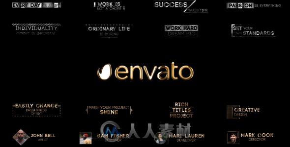 现代企业金属质感黄金粒子标题动画AE模板Videohive Corporate Golden Titles V.3