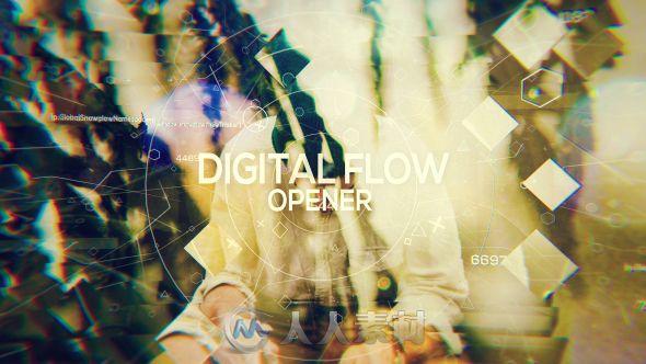 创意优雅照片展示抽象几何符号视差幻灯片相册动画AE模板Videohive Digital Flow - Opener