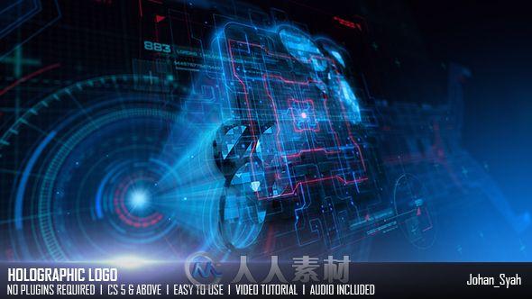 炫酷高科技全息投影标志展示LOGO演绎AE模板Videohive Holographic Logo