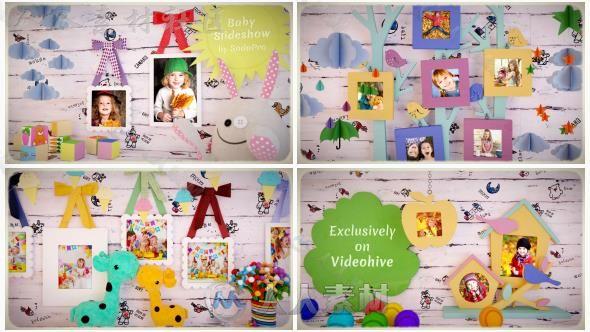 可爱温馨优雅的儿童相册展示幻灯片相册动画AE模板Videohive Baby Slideshow