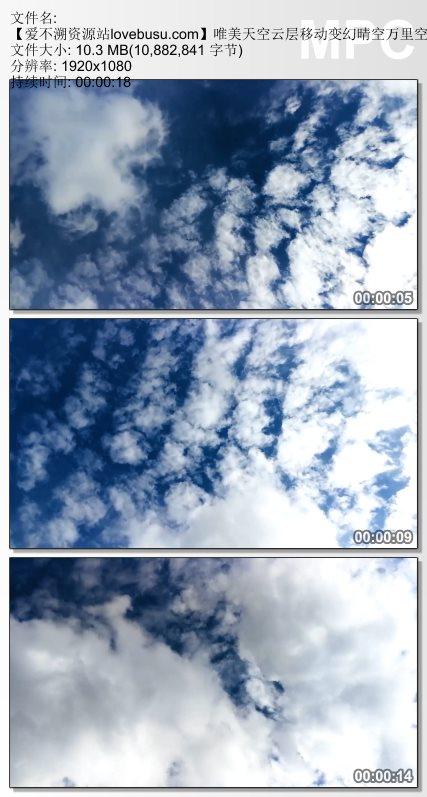 唯美天空云层移动变幻晴空万里空中美景仰视觉镜头高清视频实拍