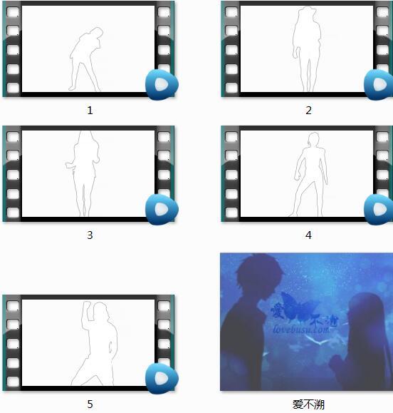 5个带通道的跳舞舞者剪影视频素材