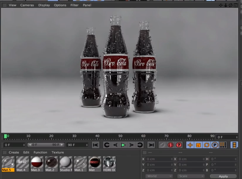 C4D可口可乐玻璃瓶渲染教程(Rendering A Cola Bottle With Condensation)