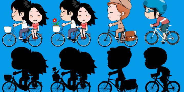 4款骑着自行车的卡通人物带通道视频素材