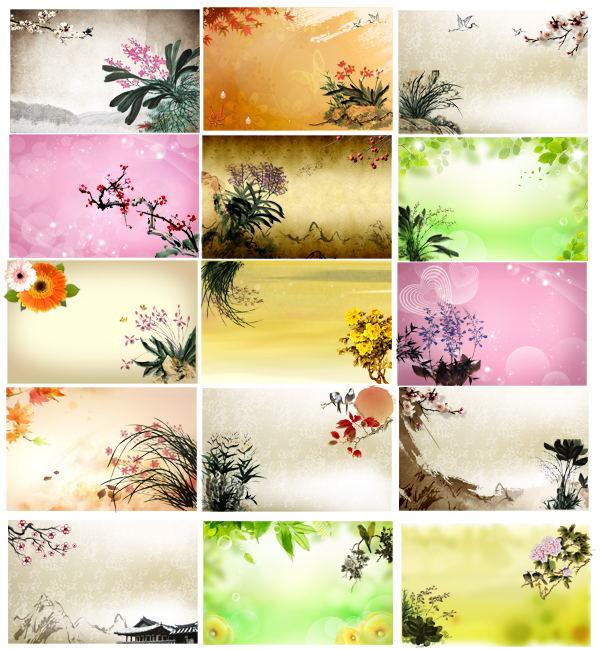 中国风水墨花纹背景模板设计素材