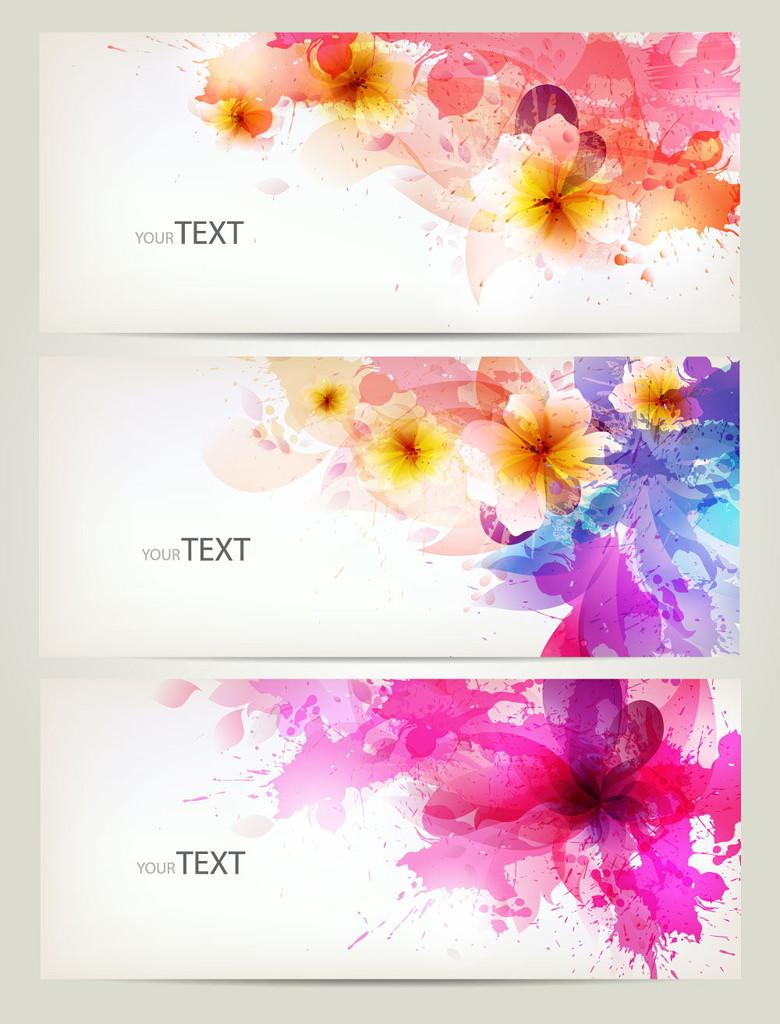 彩色水印花朵图片矢量素材