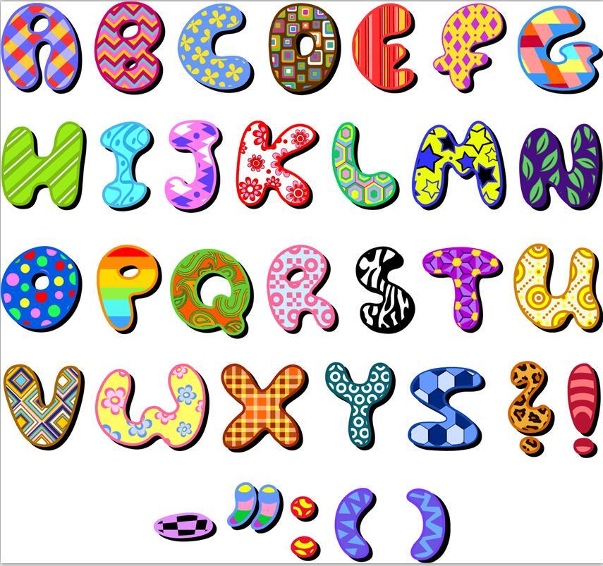 彩色花纹英文字母图片矢量素材