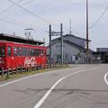 Photos: s1232_万葉線7075_越ノ潟と富山県営渡船越の潟発着場