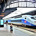 写真: TGVと女の子
