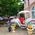 写真: 馬車と少女