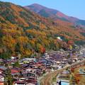写真: 錦秋の木曽路を行く特急しなの
