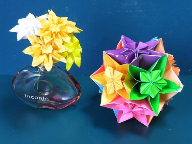 花クスダマと折り紙マオガレット