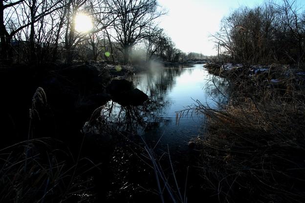元日の朝の利根川