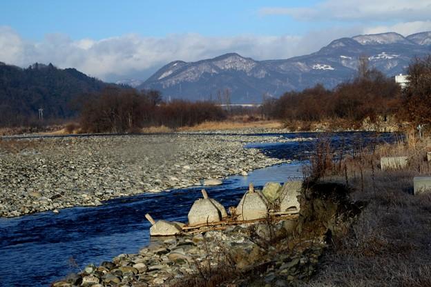 元日の利根川風景