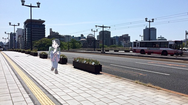相生橋 広電バス 広島市中区大手町1丁目 - 本川町1丁目 スマホアプリ 舞台めぐり AR撮影 2016年8月12日