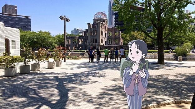 原爆ドーム対岸 広島市中区中島町 平和記念公園 スマホアプリ 舞台めぐり AR撮影 2016年8月12日