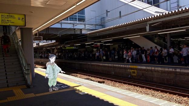 広島駅 在来線 2番線ホーム 広島市南区松原町 スマホアプリ 舞台めぐり AR撮影 2016年8月12日