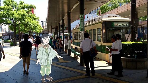 広島電鉄 広島駅 広島市南区松原町 スマホアプリ 舞台めぐり AR撮影 2016年8月12日