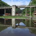 Photos: 田植えする水面に映る宇都井駅