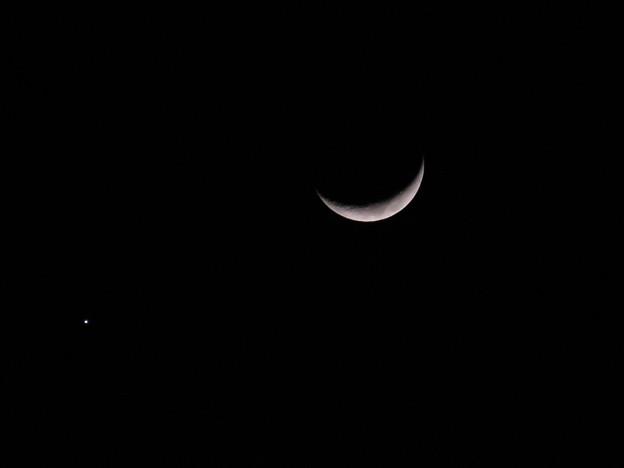 写真: 星と三日月