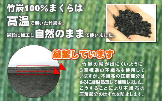 送料無料 快眠枕 国産竹炭100%まくらはマイナスイオンと殺菌効果で爽快な睡眠が得られます