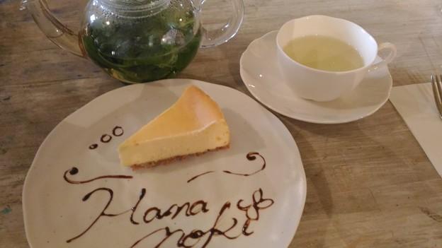 フレッシュハーブティーとベイクドチーズケーキ