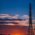 Photos: 鉄塔と夕焼け@近所