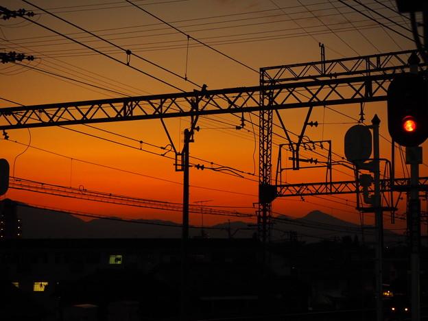 オレンジの秋の夕焼け