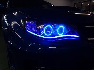 インプレッサGVB 千葉県 NEWアウディ風LED・イカリング取付