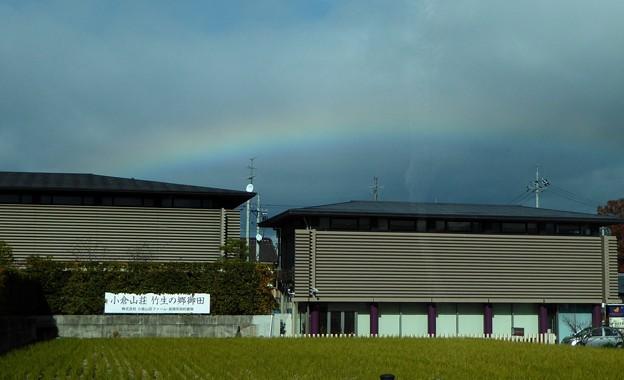 光明寺からのタクシー内からの虹