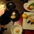 先付、前菜、先吸、冬野菜と国産豚の酒粕鍋など