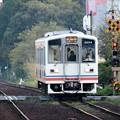 秋夕暮れ時の関東鉄道常総線