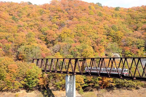 紅葉の湯西川橋梁を渡る6050系