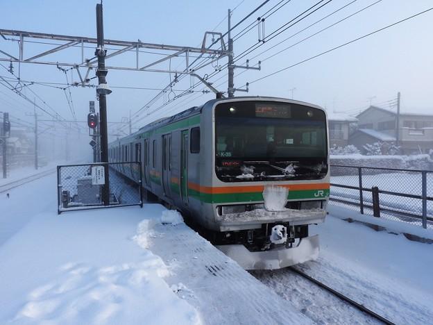 宇都宮線E231系 雪 ヘッドーマーク付き