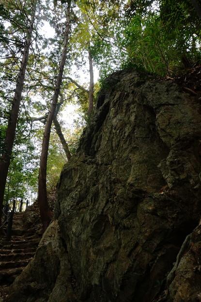 巨岩、奇岩の脇を