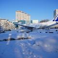 雪化粧の航空機