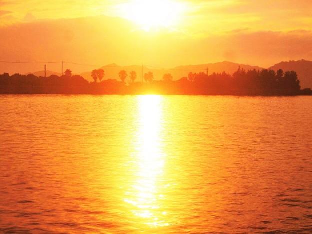 笠岡湾の夕陽@終戦の日