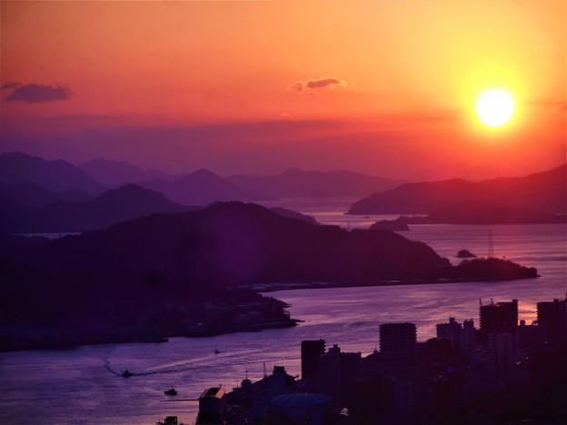 冬至前の瀬戸の夕暮れ@浄土寺山展望台