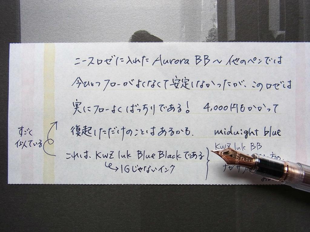 AURORA BlueBlackを色はけびきに試し書き