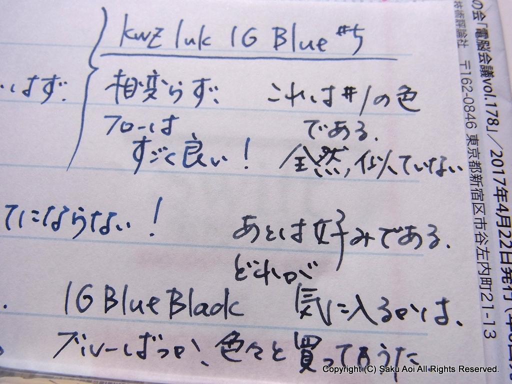 KWZ Ink IG Blue #5とIG Blue #1(榛原蛇腹便箋に)