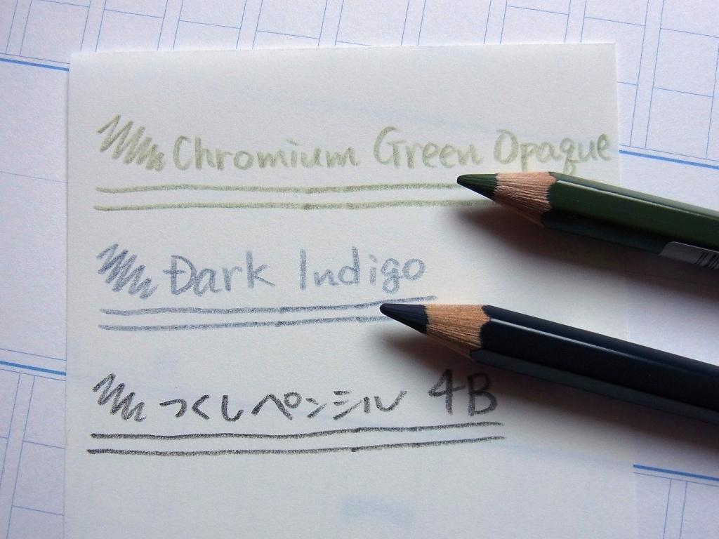 Faber Castell Albrecht Durer - Dark Indigo & Chromium Green Opaque handwriting