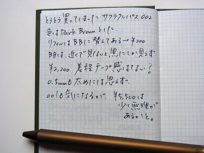 サクラクレパス SAKURA craft_lab 002 ダークブラウン(リフィルはブルーブラック)で野帳に落書き