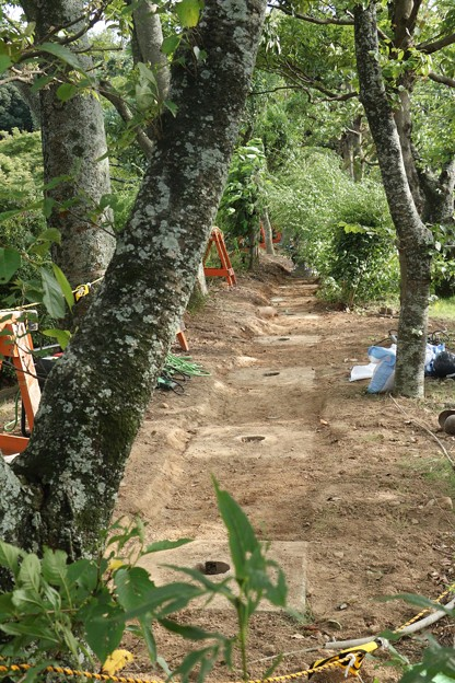 万葉の森塀の工事