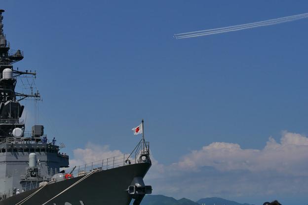 清水港まつり むらさめにブルーインパルス とかすかに富士山