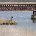 勇払川の釣り人