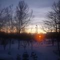写真: 冬の日没
